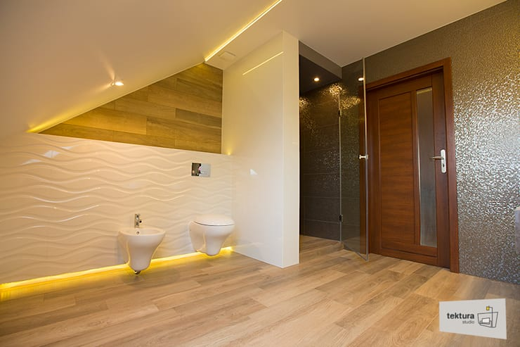 Bathroom by Tektura Studio Katarzyna Denst, Minimalist Ceramic