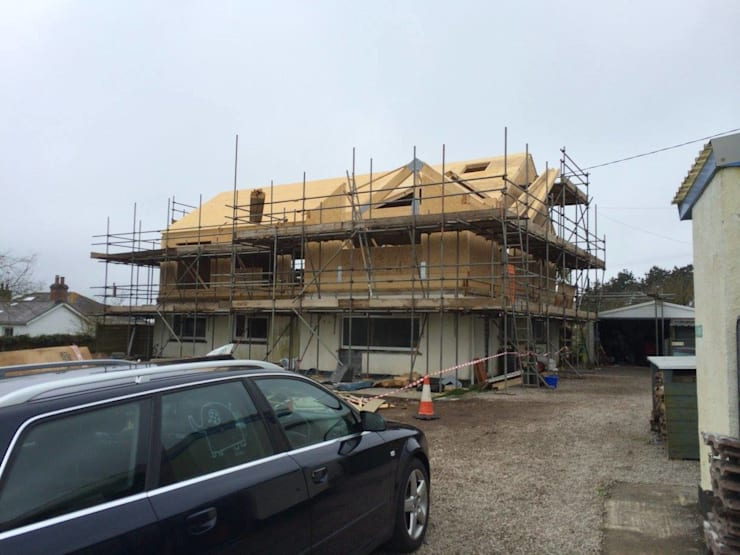 Lower Treave, Timber Frame Roof Extension: modern Houses by Building With Frames