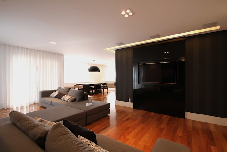 Apartamento AS: Salas de estar modernas por F:POLES ARQUITETOS ASSOCIADOS