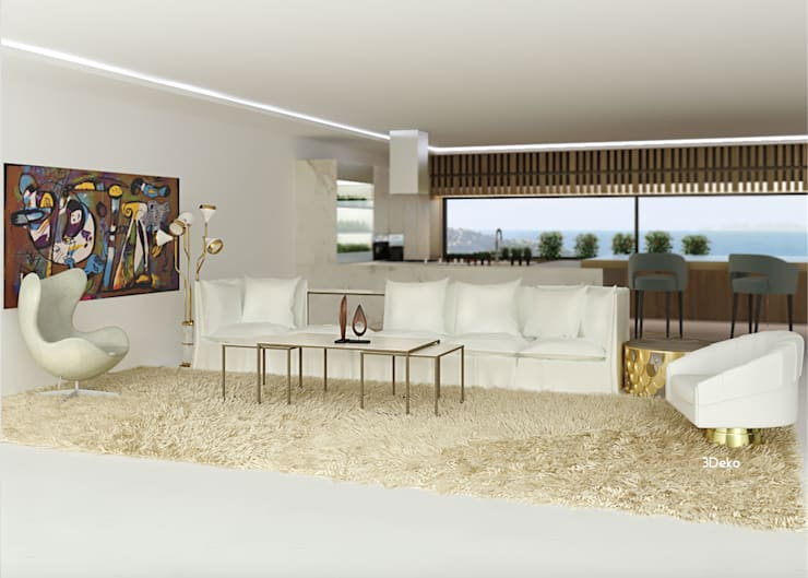 Salón en 3D: Salas de estilo  por 3Deko