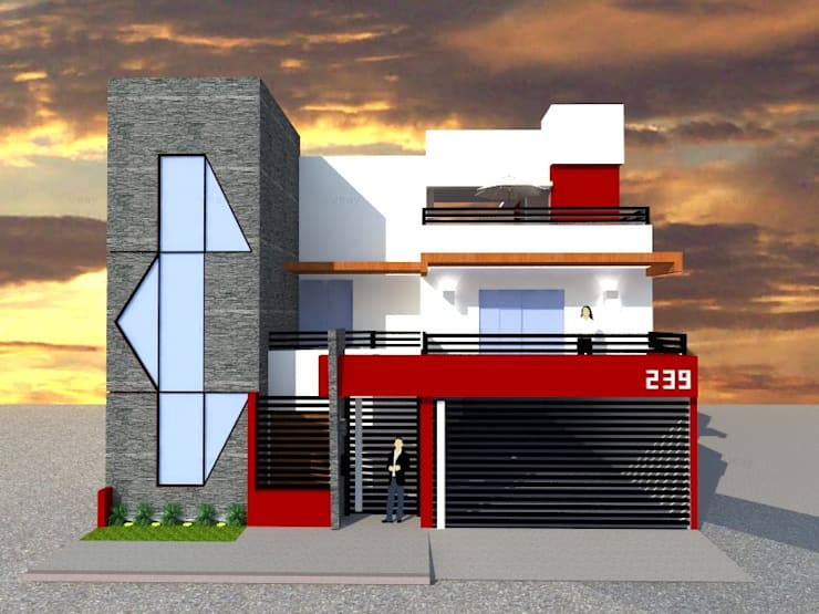FACHADA PRINCIPAL: Casas de estilo  por ROJAS Arquitectura Diferente