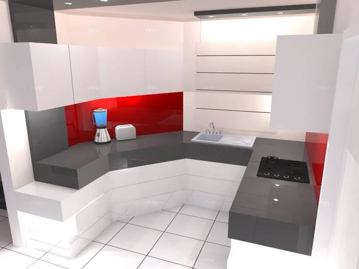 VISTA 2: Cocina de estilo  por ROJAS Arquitectura Diferente