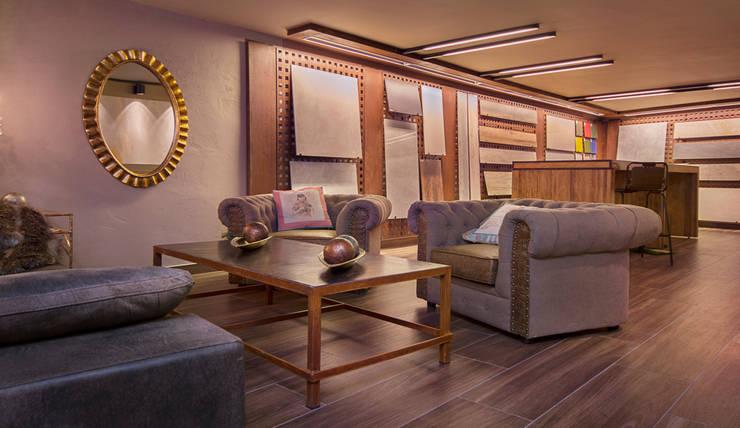 Zona tertulia Showroom de materiales técnicos: Espacios comerciales de estilo  de Apersonal