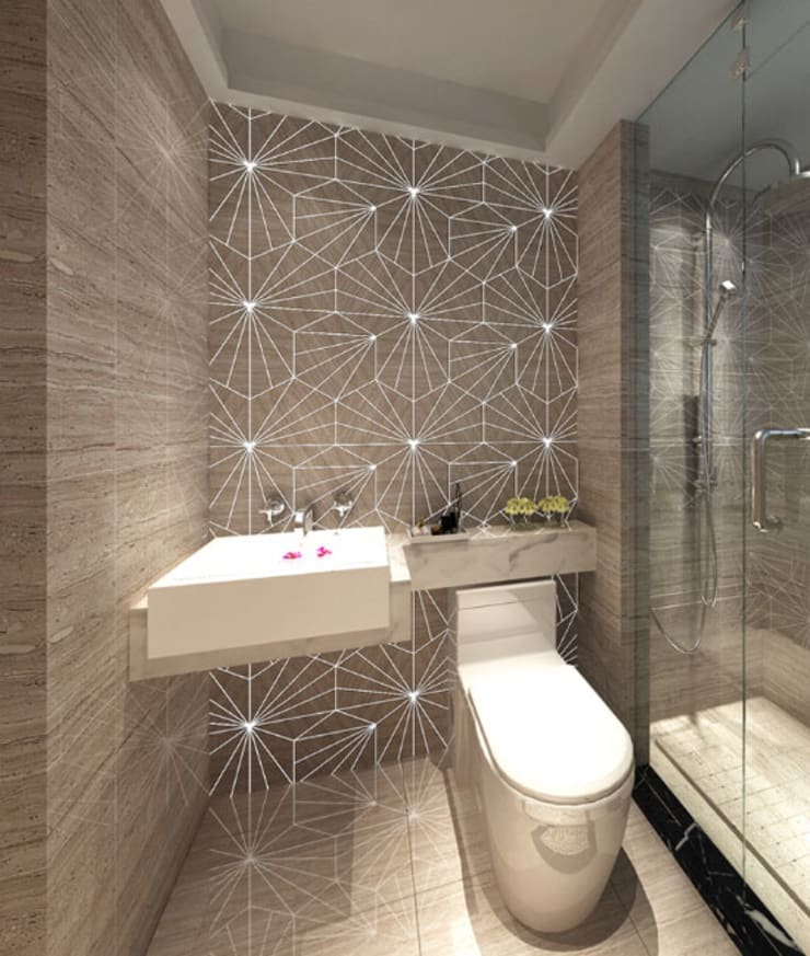 Water Jet Mosaics in Various China Projects:  Bathroom by ShellShock Designs,