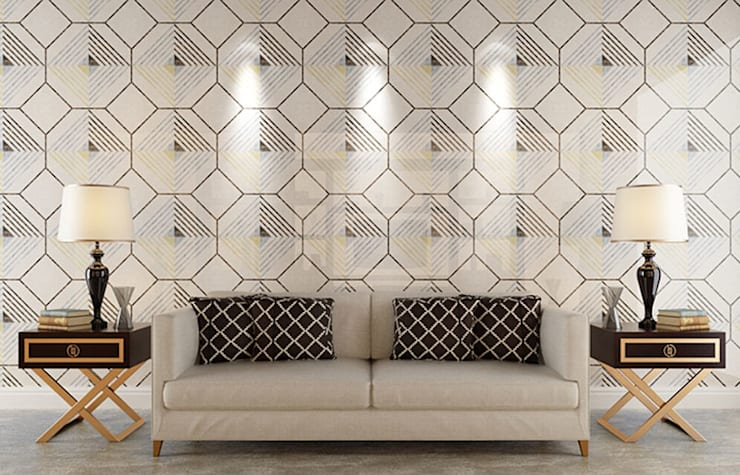 Water Jet Mosaics in Various China Projects:  Living room by ShellShock Designs,