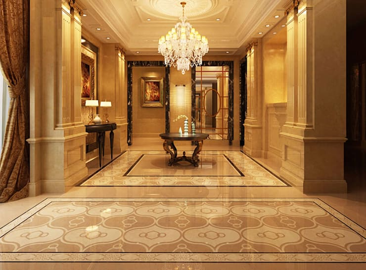 Water Jet Mosaics in Various China Projects:  Corridor & hallway by ShellShock Designs,