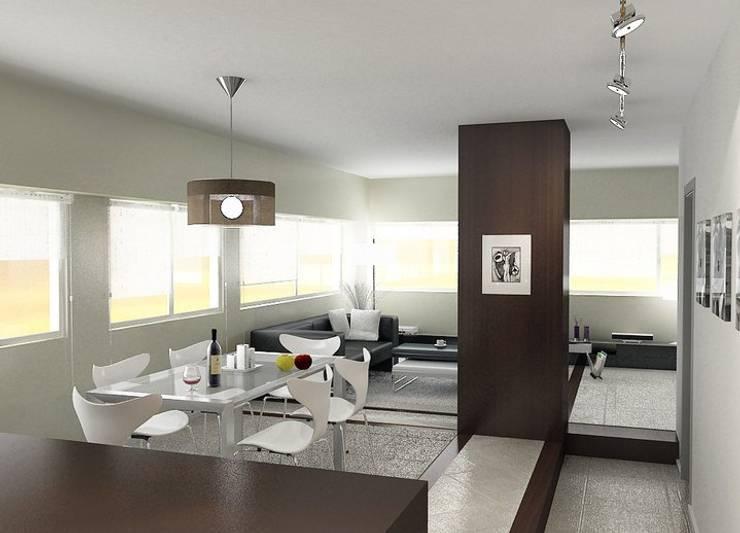 Remodelación Departamento en Cabo Corrientes: Livings de estilo  por ArqmdP - Arquitectura + Diseño