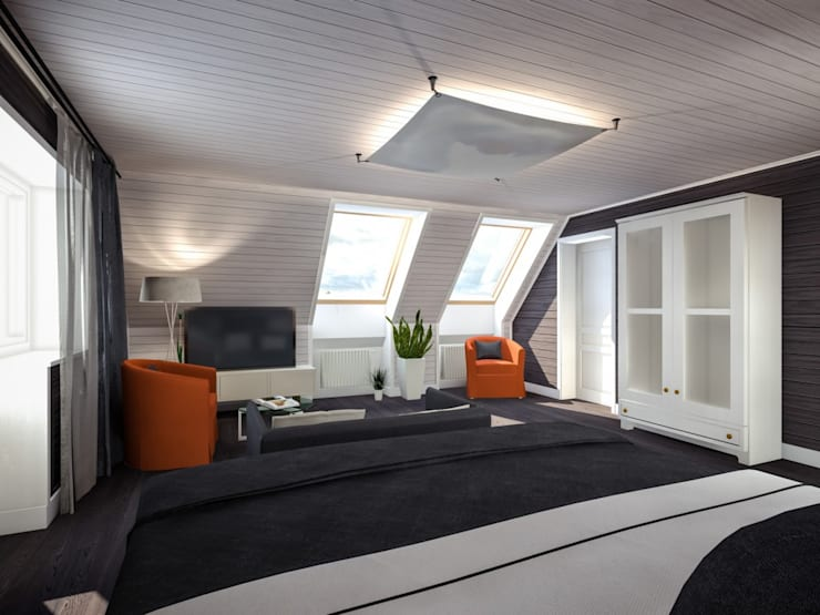 Exemples de réalisations: Chambre de style  par  Sébastien Halimi architecte d'intérieur