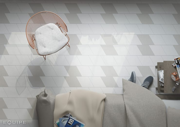 Rhombus Smooth white, light grey 14x24: Dormitorios de estilo  de Equipe Ceramicas, Moderno