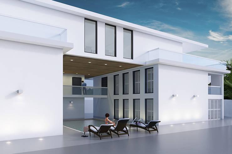 Villa Paramaribo:  Zwembad door Designa Interieur & Architectuur BNA