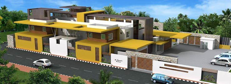 Proposed residence for Mr.R.Ramesh at Neyveli: minimalistic Houses by Offcentered Architects