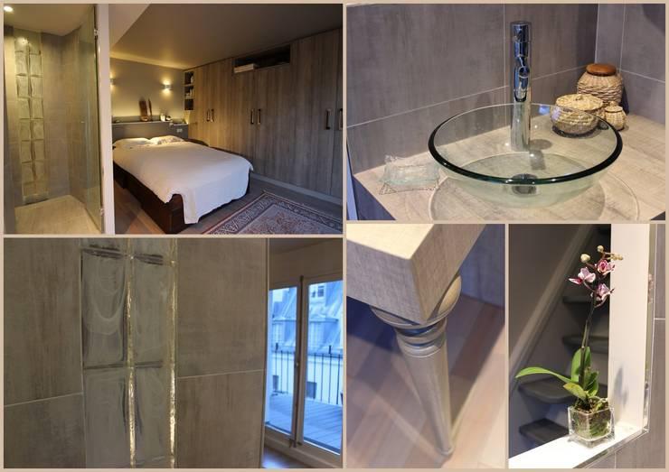Duplex Ile Saint Louis: Salle de bains de style  par SA2L RENOVATIONS PRIVEES