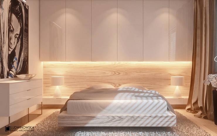 MINIMALISTYCZNIE: styl , w kategorii Sypialnia zaprojektowany przez Ludwinowska Studio Architektury