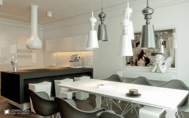 MODERN GLAMOUR: styl , w kategorii Kuchnia zaprojektowany przez Ludwinowska Studio Architektury