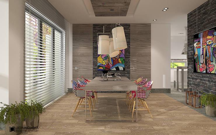 SOFT LOFT: styl , w kategorii Jadalnia zaprojektowany przez Ludwinowska Studio Architektury