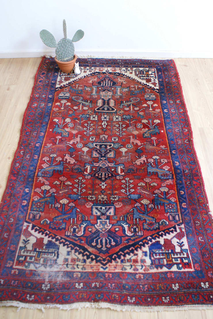 Tof Perzisch tapijt met dieren. Handgeknoopt vintage kleed/wandkleed:   door Flat sheep, Aziatisch Wol Oranje