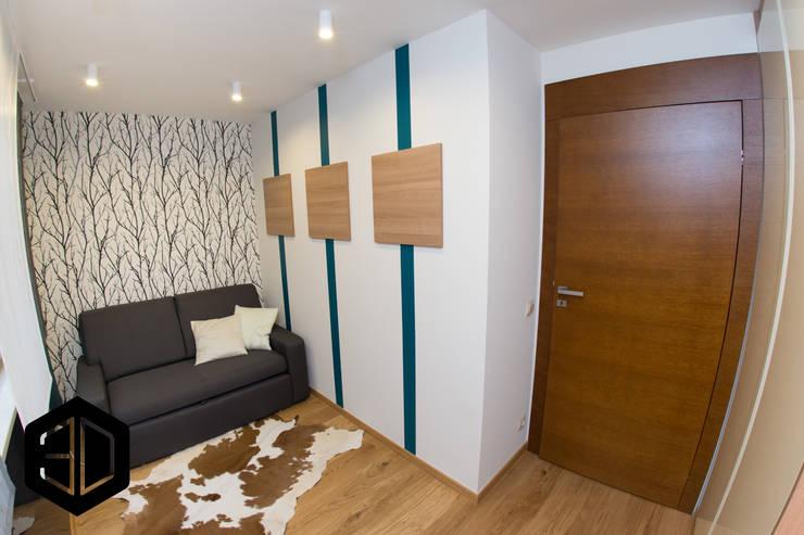 GABINET Z KANAPĄ DLA GOŚCI- PO REMONCIE: styl , w kategorii Domowe biuro i gabinet zaprojektowany przez 3D STUDIO