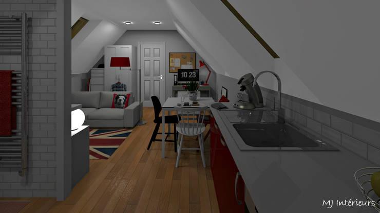 Un studio sous les toits: Cuisine de style de style Moderne par MJ Intérieurs