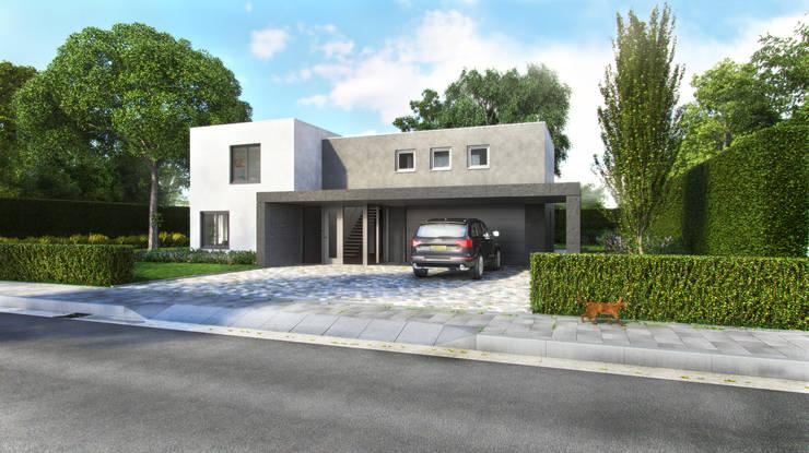 Voorzijde moderne villa:  Huizen door Villa Delphia
