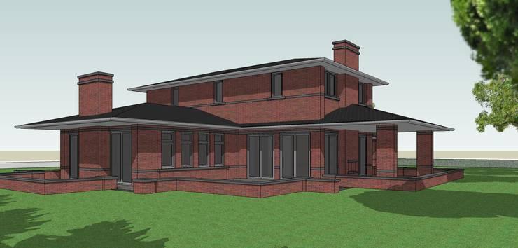 Achteraanzicht landelijke villa Frank Lloyd Wright Priariehuis stijl :  Huizen door Villa Delphia