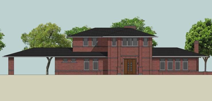 Vooraanzicht landelijke villa Frank Lloyd Wright Priariehuis stijl :  Huizen door Villa Delphia