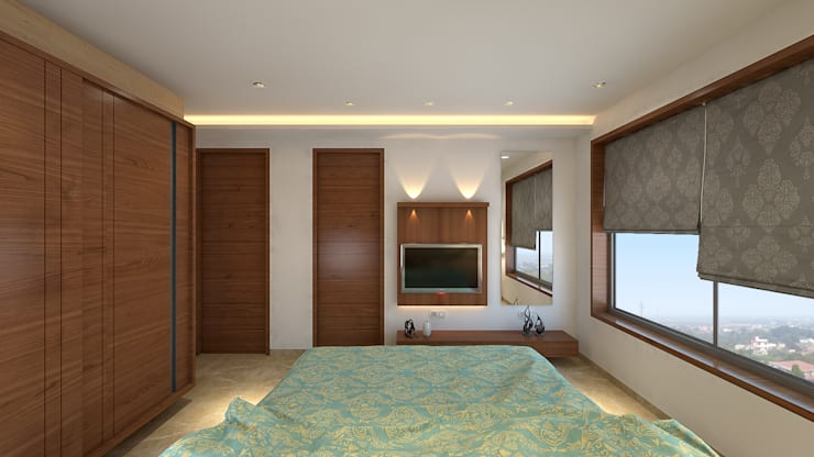 DR. BHAVESHBHAI CHUAHAN RESIDENCE: modern Bedroom by INCEPT DESIGN SERVICES