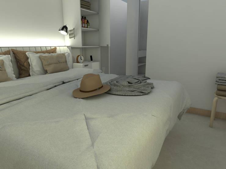 Dormitorio principal. Línea SoHo1: Dormitorios de estilo  por campos complementarios,