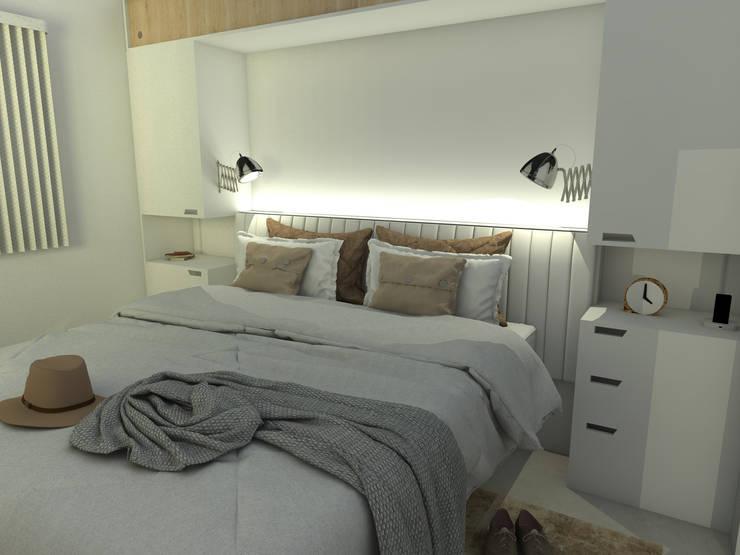 Dormitorio principal. Línea SoHo1: Dormitorios de estilo  por campos complementarios