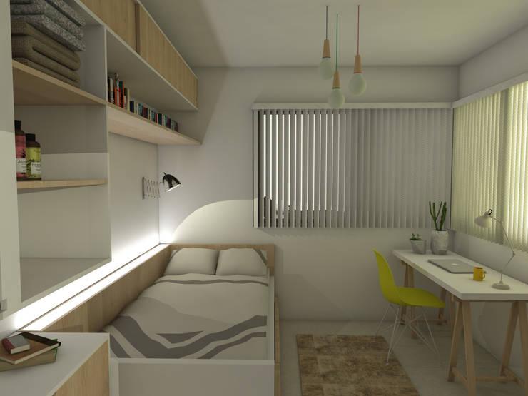 Dormitorio secundario. Línea SoHo1: Dormitorios de estilo  por campos complementarios,