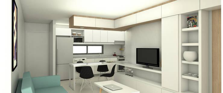 Comedor departamento de un dormitorio. Línea SoHo1: Comedores de estilo  por campos complementarios,