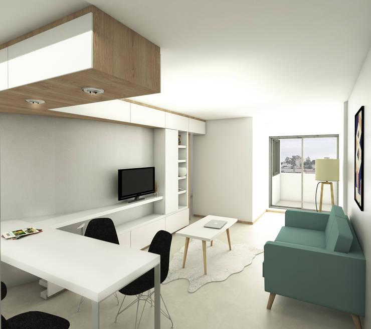 Living departamento de un dormitorio. Línea SoHo1: Livings de estilo  por campos complementarios,