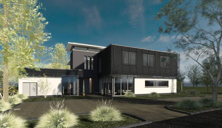 Moderne luxe woonvilla:  Huizen door ArchitectenGilde, Modern Steen