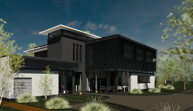 Entreetoren tussen glazen gevels.:  Huizen door ArchitectenGilde, Modern Steen