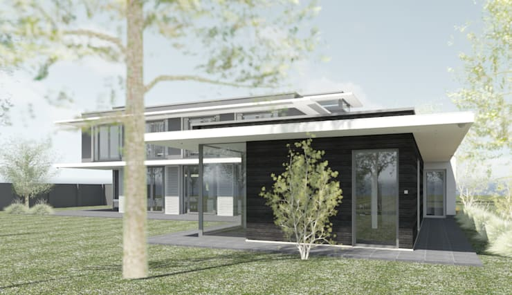 Binnenzwembad met zonneluifel :  Zwembad door ArchitectenGilde, Modern Hout Hout
