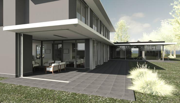 Veranda als onderdeel van de woning.:  Terras door ArchitectenGilde, Modern Steen
