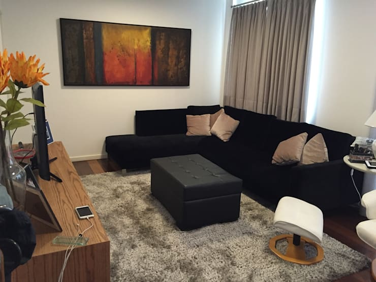Apartamento Juiz de Fora: Salas de estar modernas por Alves Bellotti Arquitetura & Design