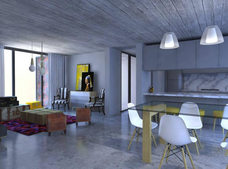 VIVIENDA DUAL: Livings de estilo  por Arquitecto Juan Nicolás Bobba
