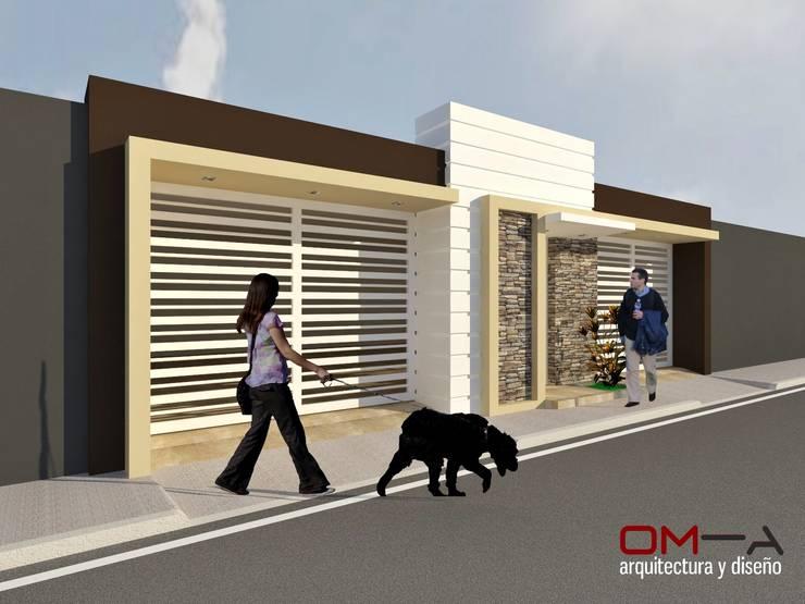 Diseño de fachada de vivienda pareada: Casas de estilo minimalista por om-a arquitectura y diseño
