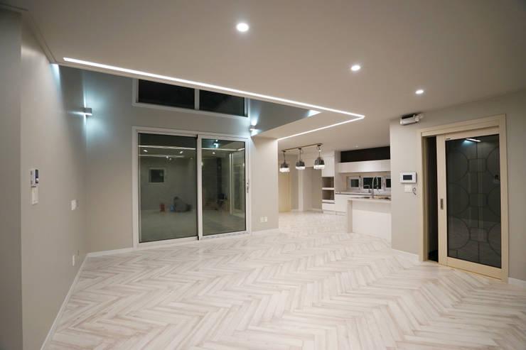 Projekty,  Salon zaprojektowane przez IDÉEAA _ 이데아키텍츠