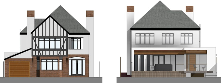 Front and Rear Elevations:  Houses by Artform Architects