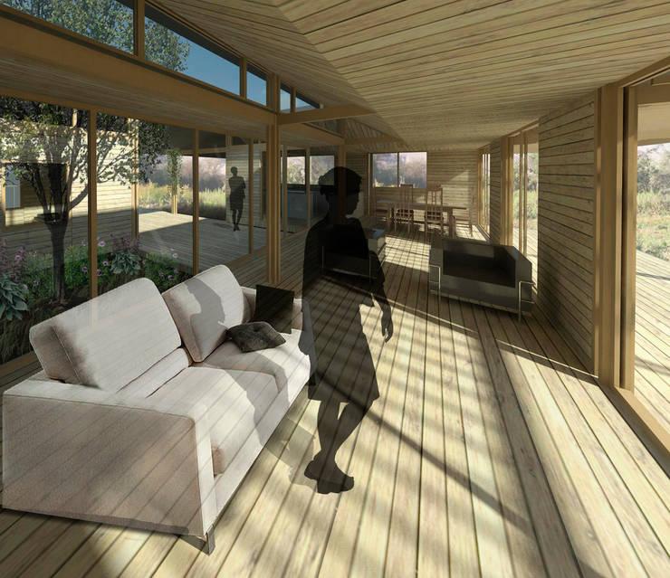 Casa Patio: Livings de estilo  por DAIBER & ACEITUNO Arquitectos,