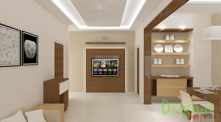 PROJECT-1 ( MR. Sunil , HSR LAYOUT ):  Living room by Dsign-it