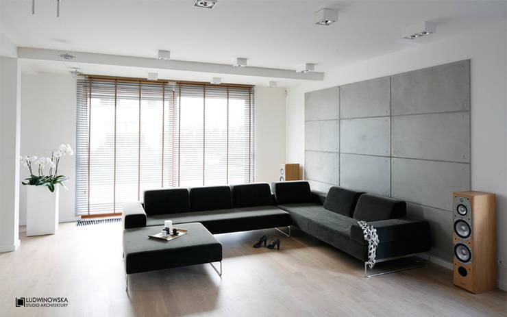 ASCETYCZNY AZYL: styl , w kategorii Salon zaprojektowany przez Ludwinowska Studio Architektury