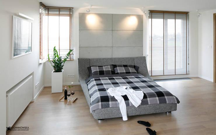 ASCETYCZNY AZYL: styl , w kategorii Sypialnia zaprojektowany przez Ludwinowska Studio Architektury