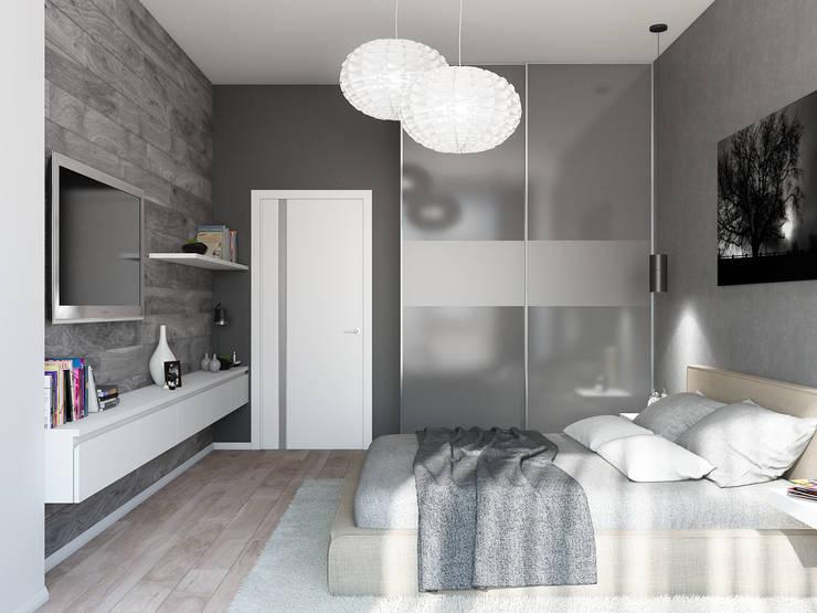 Квартира для холостяка в минималистическом стиле: Спальни в . Автор – Tatiana Zaitseva Design Studio