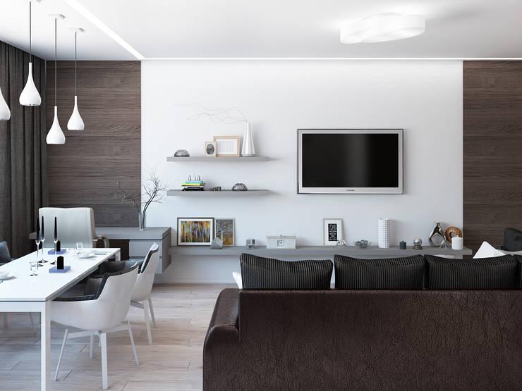 Квартира для холостяка в минималистическом стиле: Гостиная в . Автор – Tatiana Zaitseva Design Studio