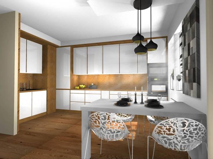Kuchnia z jadalnią : styl , w kategorii Kuchnia zaprojektowany przez Pat-Art wnętrza & design Patrycja Madejska