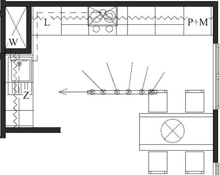 Rzut kuchni, projekt funkcjonalny  : styl , w kategorii Kuchnia zaprojektowany przez Pat-Art wnętrza & design Patrycja Madejska