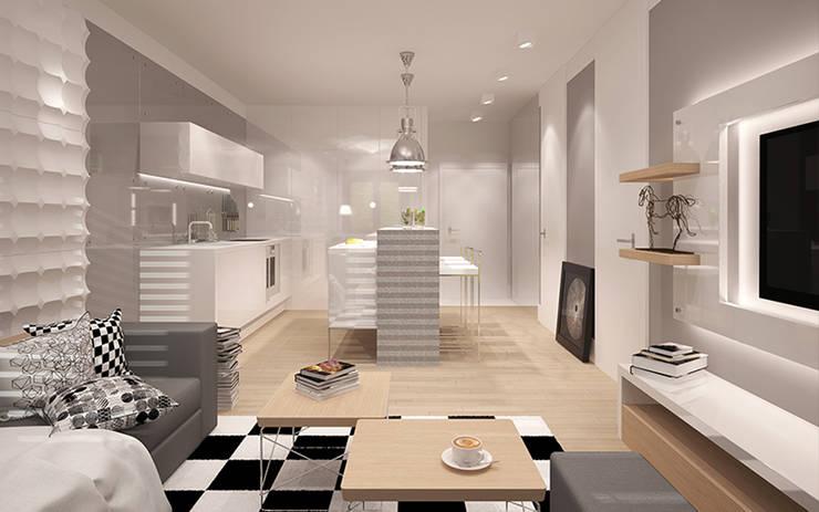 MINIMALIZM DLA SINGLA: styl , w kategorii Kuchnia zaprojektowany przez Ludwinowska Studio Architektury