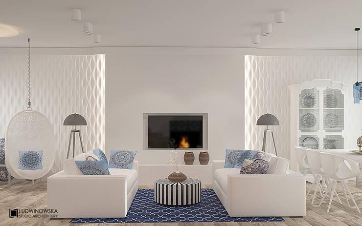 KOLORY MAROKA: styl , w kategorii Salon zaprojektowany przez Ludwinowska Studio Architektury